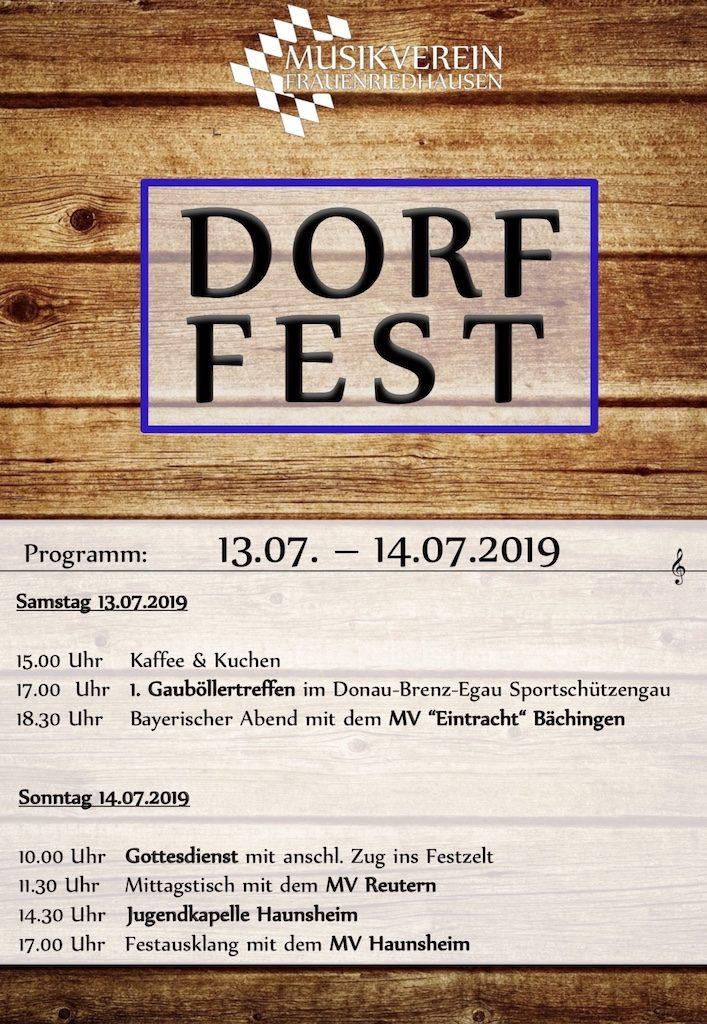 Dorffest Stadelfest Musikverein Frauenriedhausen